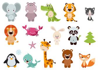 Big set isolated animals. Vector collection funny animals. Cute animals: forest, farm, domestic, polar in cartoon style. Giraffe, elephant, crab, rabbit, fox