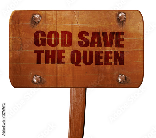 god save the queen, 3D rendering, text on wooden sign Canvas Print