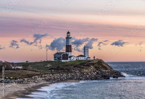 Montage in der Fensternische Leuchtturm Montauk Point Light, Lighthouse, Long Island, New York, Suffolk