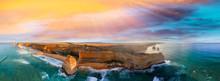 Panoramic Aerial View Of Twelve Apostles Coastline At Sunset, Gr