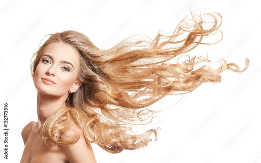 Fototapeta Blond beauty with amazing hair.