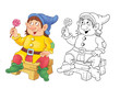 The Snow White and seven dwarfs. Fairy tale. A cute dwarf. Coloring page. Funny cartoon characters