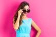 canvas print picture - Young woman with sunglasses