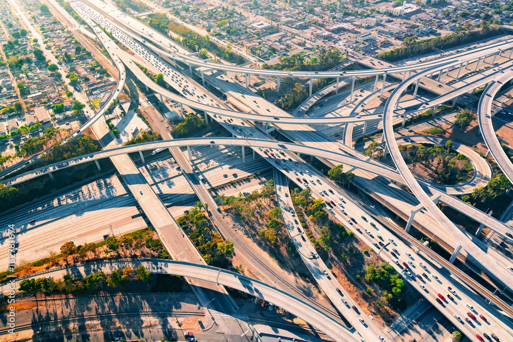 Fototapety, obrazy: Aerial view of a freeway intersection in Los Angeles
