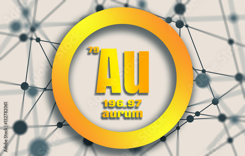 Aurum chemical element gold metal sign with atomic number and gold metal sign with atomic number and atomic weight chemical element urtaz Images