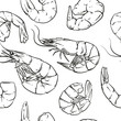 Shrimp cocktail pattern including seamless on white background.