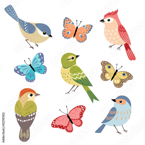 Set of colorful birds and butterflies isolated on white background Poster