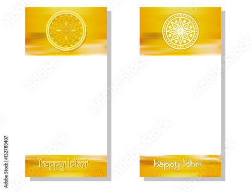Obraz na plátne  Vertical banner set for Punjabi festival of lohri celebration with greeting inscription, mandala and space for text