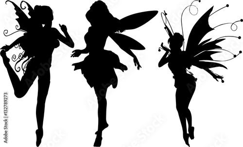 妖精のシルエット Wallpaper Mural