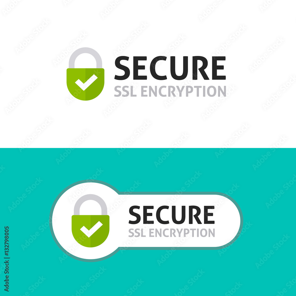 Fototapety, obrazy: Secure connection icon vector illustration isolated on white background, flat style secured ssl shield symbols, protected safe data encryption technology, https certificate privacy sign
