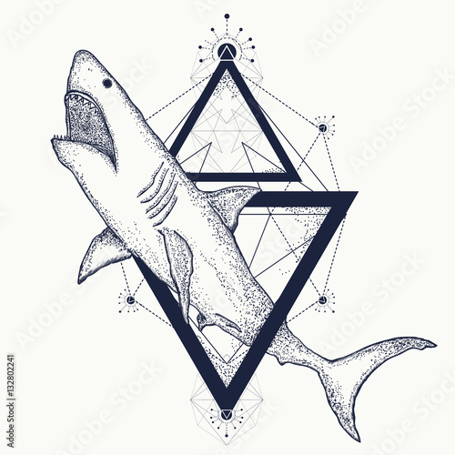 a19deeebe Shark tattoo geometric style. Tribal art - Buy this stock vector and ...