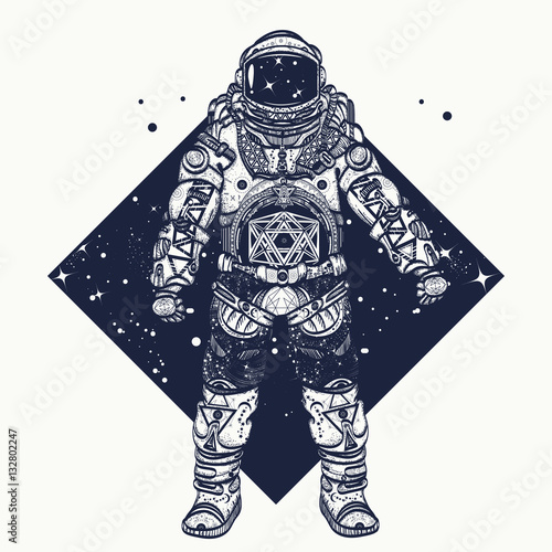 Fotografie, Obraz  Astronaut tattoo.  Cosmonaut in deep space triangular style