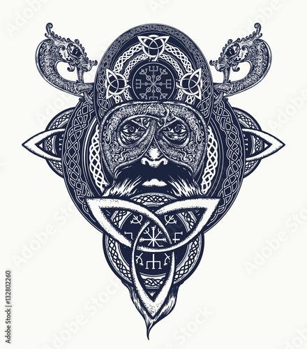 Photo  Viking warrior tattoo. Northern warrior, t-shirt design.  Celtic