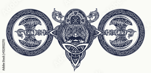 Photo  Viking tattoo, Celtic style. North warrior head t-shirt design