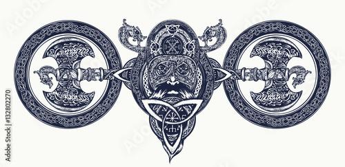 Fotografie, Obraz  Viking tattoo, Celtic style. North warrior head t-shirt design