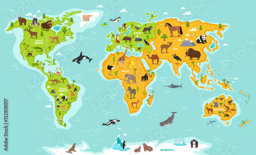 World map with wildlife animals vector illustration. Animals planet ...
