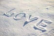 Word Love Written On The Snow