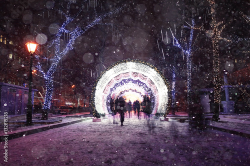 Fotobehang Aubergine Night winter landscape in amazing city