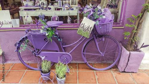 Türaufkleber Fahrrad Lavender shop bike