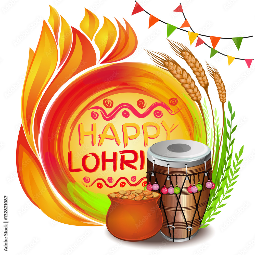 Fotografia, Obraz  Colorful background for Punjabi festival with decorated drum (Dhol), lohri celebration bonfire, pot, wheat and greeting inscription - Happy Lohri
