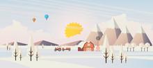 Flat Illustration Of Winter Landscape, Vector Design,
