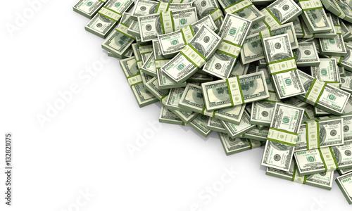 Fotografía  A lot of money on a white background. 3d illustration