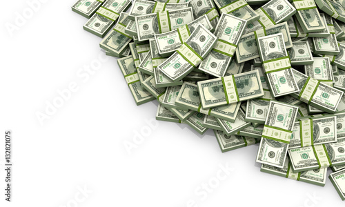 Fotografia A lot of money on a white background. 3d illustration