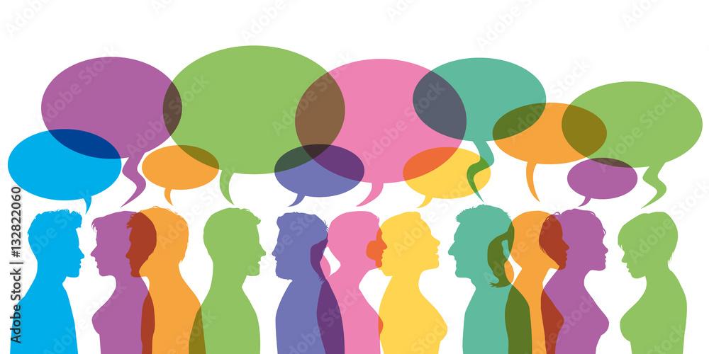 Fototapeta Bulles - Discussion - communication - forum - dialogue - réseaux sociaux