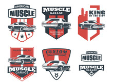 Classic Muscle Car Logo, Emblems And Icons.
