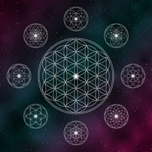 Flower Of Life. Sacred Geometry Icons On The Cosmic Background