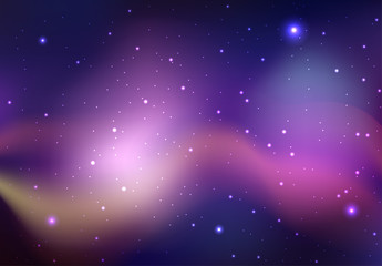 Vector background of space with stars and nebula. Background for your creativity