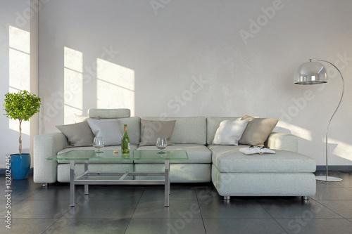 Modernes Wohnzimmer Mit Einem Sofa Modernen Tisch Textfreiraum