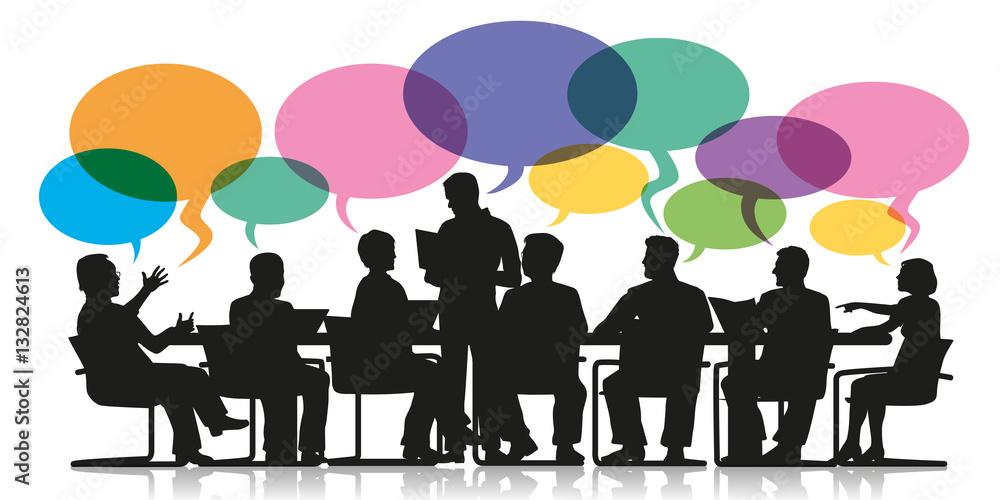 Fototapeta réunion - bulles - discussion - travail d'équipe - entreprise