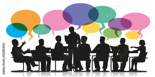Tablou Canvas réunion - bulles - discussion - travail d'équipe - entreprise