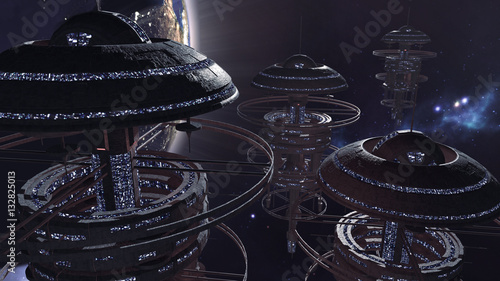 Платно 3d rendering. Powerful set of spacestations in futuristic scene