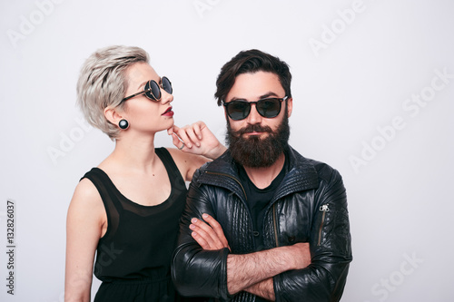 Photo  alternative couple in rock style clothes