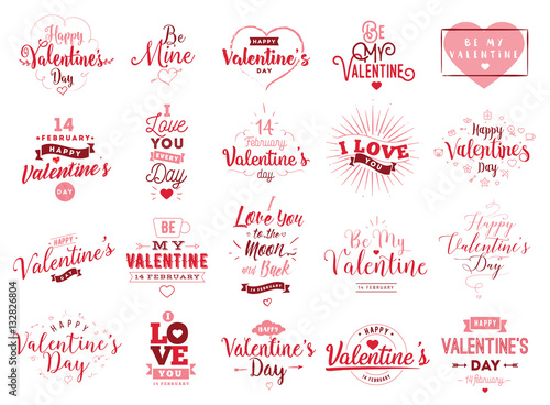Fotografie, Obraz  Happy Valentines day typography. Vector design.
