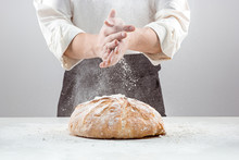 The Male Hands In Flour And Ru...