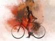 Naked woman with a bicycle combined with an abstract watercolor