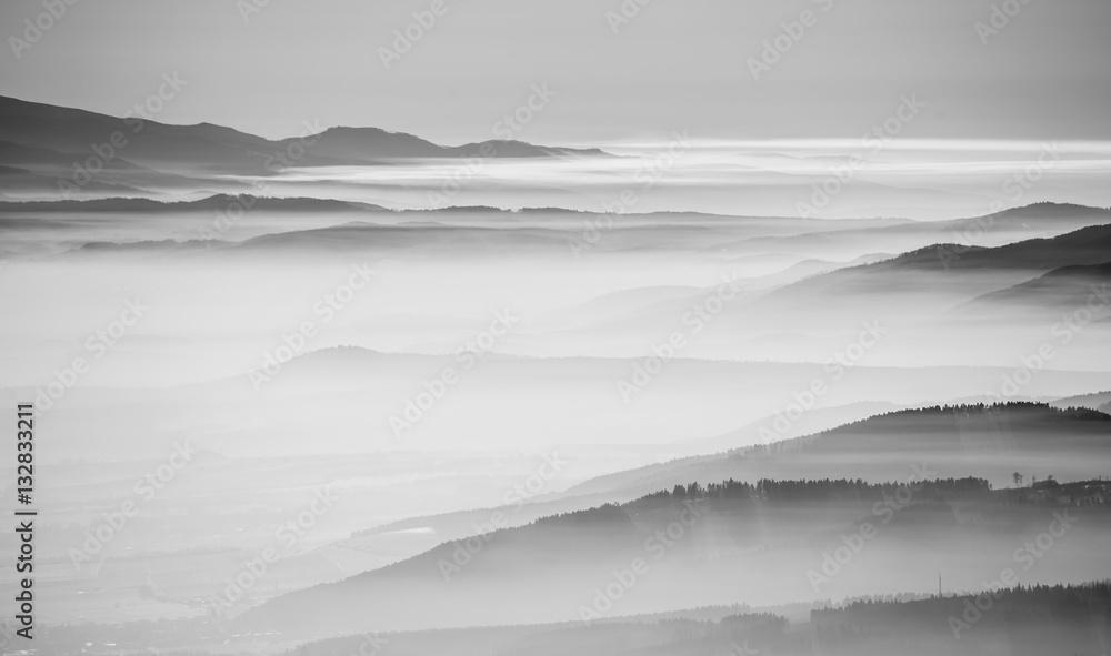 Fototapeta Black and white landscape