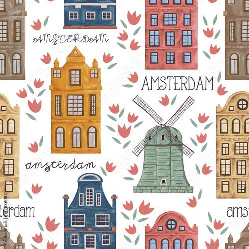 amsterdam-bezszwowy-wzor-z-starymi-historycznymi-budynkami-i-tradycyjna-architektura-holandia-wiatrak-i-domy-z-kwiatami-tulipanow-reka