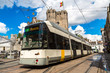 canvas print picture - City tram in Gent in a beautiful summer day, Belgium
