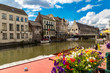canvas print picture - Canal in the old town in Gent