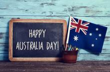 Text Happy Australia Day In A Chalkboard