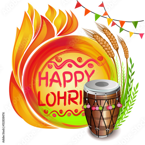 Fotografia, Obraz  Colorful background for Punjabi festival with decorated drum (Dhol), lohri celebration bonfire, wheat and greeting inscription - Happy Lohri