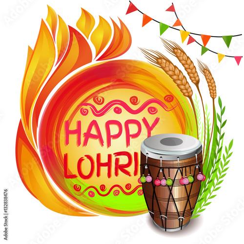 Obraz na plátne  Colorful background for Punjabi festival with decorated drum (Dhol), lohri celebration bonfire, wheat and greeting inscription - Happy Lohri