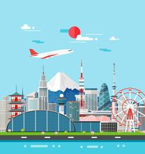 Japan Buildings Travel Place And Landmark.Vector Illustration.