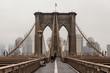 Views across the bridge walking the Brooklyn Bridge in New York