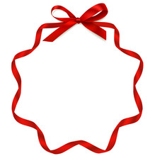 Vector Round Frame With Bow And Red Ribbon. Decorative Holiday Frame