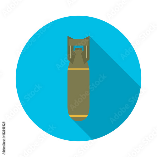 Fotografie, Obraz  Bomb icon with long shadow